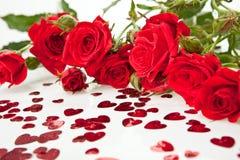 重点红色玫瑰 库存照片