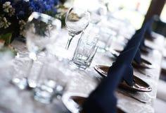 重点玻璃表婚礼 库存图片