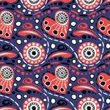 重点仿造无缝的向量 与拉长的元素和装饰标志的蓝色和红色抽象背景 皇族释放例证