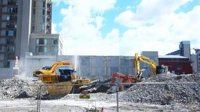 重的大量掘土的机械在克赖斯特切奇 股票录像