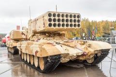 重的火投掷的TOS-1A系统。俄罗斯 免版税库存照片