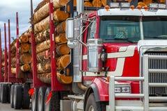 重的被装载的木材运输卡车在不列颠哥伦比亚省 库存照片