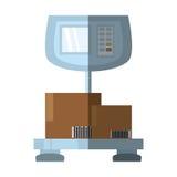 重量标度交付把货物阴影装箱 免版税库存照片