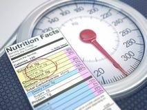 重量标度营养事实 图库摄影