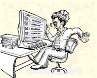重音工作者在最后期限电子邮件之前 库存图片