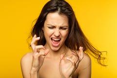 重音神经衰弱表示妇女尖叫 库存照片