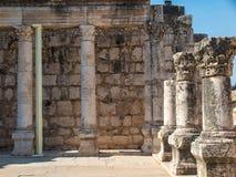 重建白色犹太教堂在Kafarnaum 库存图片