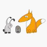 野兔、狐狸和猬动画片 免版税图库摄影