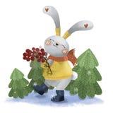 野兔用花揪 向量例证