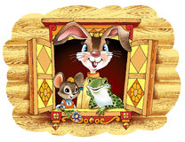 野兔老鼠青蛙传说喜爱字符 免版税库存照片