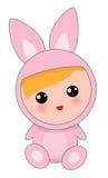 野兔衣服的婴孩 免版税库存图片