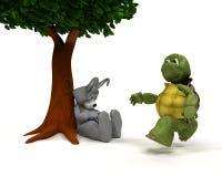 野兔隐喻种族草龟 免版税库存照片