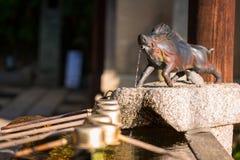野公猪监护人雕象日本寺庙的 库存照片