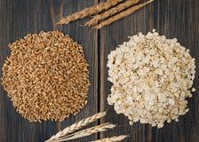 野燕麦沙粒或种子和燕麦片剥落与燕麦钉或 免版税库存图片