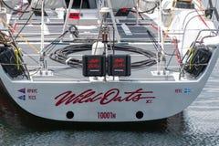 野燕麦XI 11破纪录的胜利在霍巴特游艇况赛的悉尼-科技目前进步水平最大,射击严厉从后面 免版税库存照片