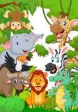 野生动物在密林 向量例证