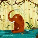 野生动物大象在密林森林背景中 库存例证