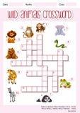 野生动物纵横填字谜模板 向量例证