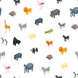 野生动物3d无缝的样式背景等轴测图 向量 向量例证
