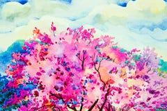 野生喜马拉雅樱桃的桃红色红颜色开花 库存例证