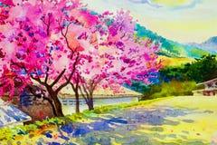 野生喜马拉雅樱桃的桃红色红颜色 向量例证