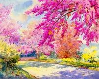野生喜马拉雅樱桃的水彩原始的山水画桃红色颜色 免版税库存图片