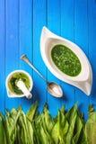 野生蒜离开与灰浆、匙子和大蒜汤在白色板材在蓝色木背景,健康生活方式,季节性春天 库存照片