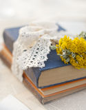 野花和书在桌上 库存照片
