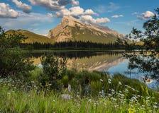 野花和Mt 在银朱的湖的Rundle 库存图片