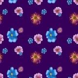 野花的无缝的重复的样式 库存图片
