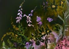 野花的混合的印象反对夜空的 库存照片