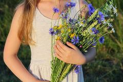 野花花束在女孩的手上 免版税库存图片