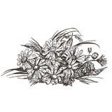 野花花束的传染媒介图象  葡萄酒剪影 库存例证