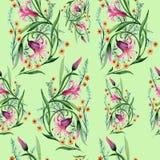 野花装饰品在水彩样式的花纹花样 免版税图库摄影