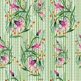 野花装饰品在水彩样式的花纹花样 库存照片