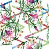 野花装饰品在水彩样式的花纹花样 免版税库存图片