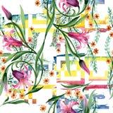 野花装饰品在水彩样式的花纹花样 图库摄影