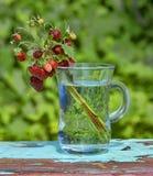 野草莓花束在绿色背景的 库存照片