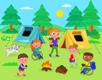 野营与残疾孩子传染媒介 库存照片