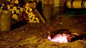 野营与火 晚上 股票录像