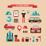 野营和远足套平的设计元素的旅游业旅行 免版税图库摄影