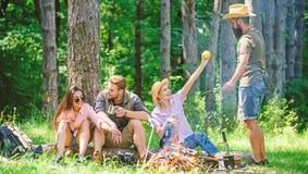 野营和远足 有公司的朋友放松和快餐野餐自然背景 了不起的周末本质上 止步不前 库存图片