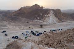 野营在以色列的沙漠 库存图片