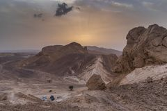 野营在以色列的沙漠 免版税图库摄影