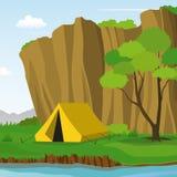 野营在夏日传染媒介例证的峭壁下 免版税库存照片