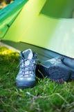 野营在挪威的原野日出的 图库摄影