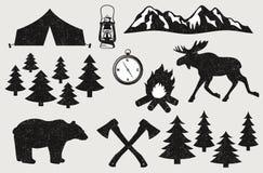 野营在木头 免版税库存图片