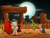 野营在沙漠的男孩探险家 库存例证