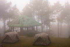 野营在海薄雾下 图库摄影