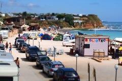 野营在海滩在Vama Veche 免版税库存图片
